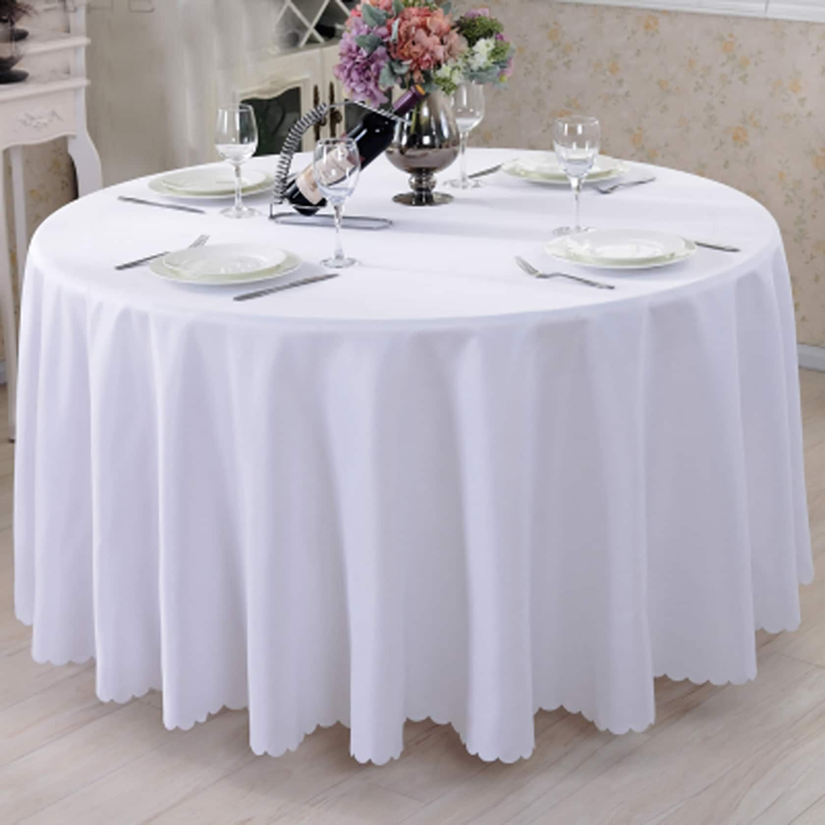 Fine Cheap White Round Tablecloths And Round Polyester Beutiful Home Inspiration Ommitmahrainfo