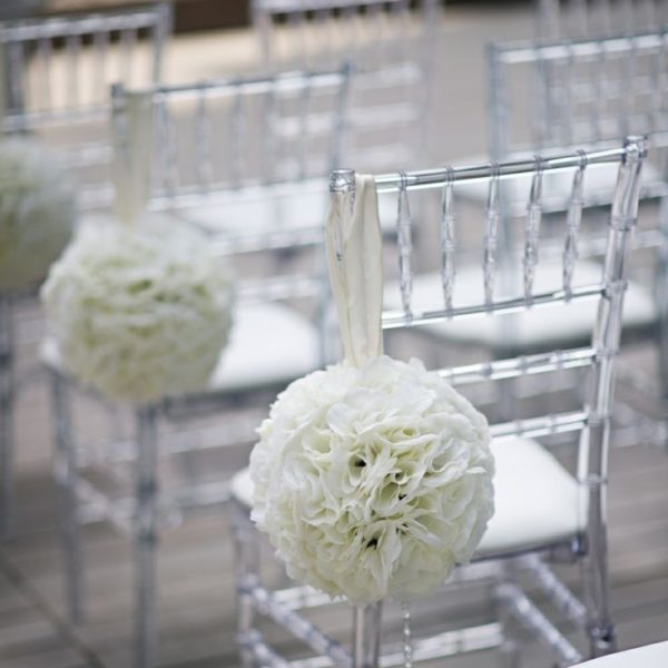Clear Chiavari Chair With Flower Ball Wedding