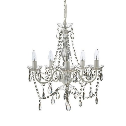 crystal and white chandelier rental on white background with 5 bulbs
