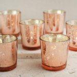 30 Rose Gold Mercury Blush Glass Votive Candle Holders Bulk Lot Tealight Candle Holders Bulk