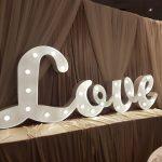 Love White Cursive Bridal Show