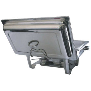 stainless steel chafing dish lid in the holder of a stainless steel chafing dish