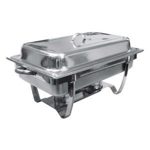 stainless steel chafing dish with a lift top lid on a white background