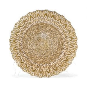 glass gold charger plate rental with white peacock design