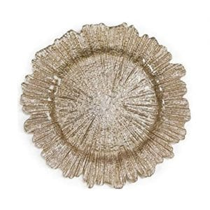 gold reef glass charger plate shaped like coral burst for rent red deer