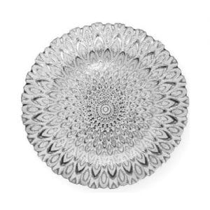 glass silver charger plate rental with white peacock design