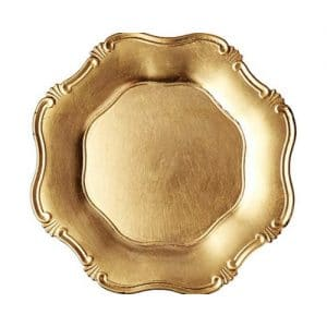 gold baroque acrylic charger plate for rent