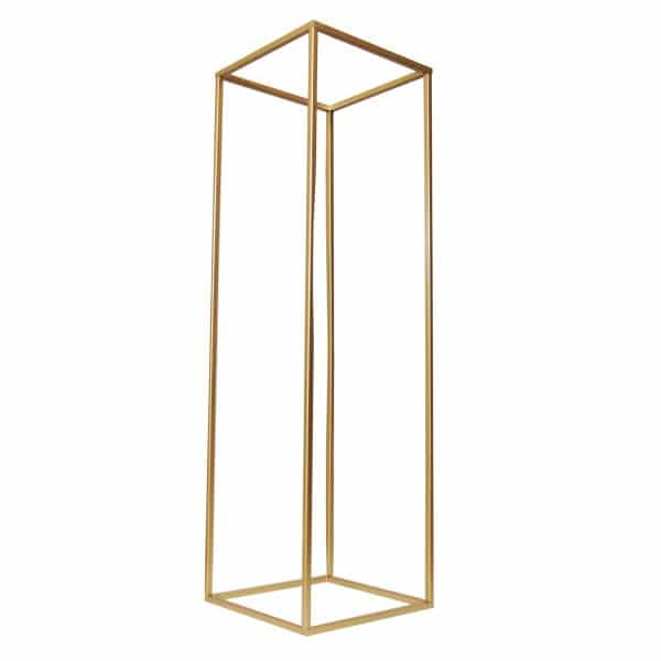gold geometric flower stand for centerpiece