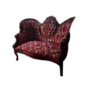 Red Victorian Settee For Rent in Lacombe